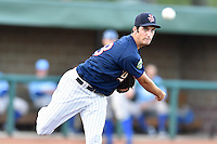 Elizabethton Twins starting pitcher Alex Schick (38) attempts a pickoff at first base during game against the Burlington Royals at Joe O'Brien Field on August 24, 2016 in Elizabethton, Tennessee. The Royals defeated the Twins 8-3. (Tony Farlow/Four Seam Images)