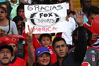 BOGOTA - COLOMBIA, 28-01-2018:Hinchas del América de Cali.Independiente Santa Fe y América de Cali por la final de la Copa Fox Sports 2018 jugada en el estadio Nemesio Camacho El Campin de la ciudad de Bogotá. / :Fans of América of Cali .Independiente Santa Fe and América de Cali for the final of the Fox Sports Cup 2018 played at the Nemesio Camacho Stadium The Campin of the city of Bogotá played at the Nemesio Camacho stadium El Campin in the city of Bogotá. Photo: VizzorImage / Felipe Caicedo / Staff.