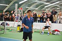 20-01-13, Tennis, Rotterdam, Wildcard for qualification ABNAMROWTT, Fabian van der Lans komt zijn wildcard ophalen rechts verliezend finalist Jesse Timmermans.