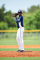 GCL Rays relief pitcher Angel Felipe (30) gets ready to deliver a pitch during the first game of a doubleheader against the GCL Twins on July 18, 2017 at Charlotte Sports Park in Port Charlotte, Florida.  GCL Twins defeated the GCL Rays 11-5 in a continuation of a game that was suspended on July 17th at CenturyLink Sports Complex in Fort Myers, Florida due to inclement weather.  (Mike Janes/Four Seam Images)