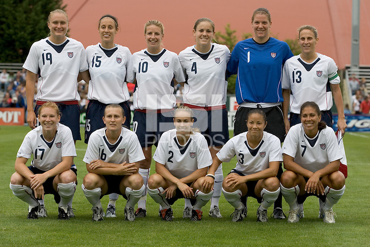 10 July 2005:  USWNT starting line up before the game against Ukraine at Merlo Field at University of Portland in Portland, Oregon.  USA defeated Ukraine, 7-0.