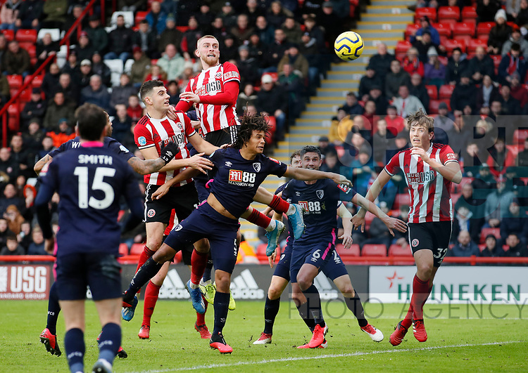 Oli McBurnie of Sheffield Utd rises up to head towards goal during the Premier League match at Bramall Lane, Sheffield. Picture date: 9th February 2020. Picture credit should read: Simon Bellis/Sportimage