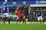Leicester's Jeff Schlupp sends a shot just over the bar - Everton vs. Leicester City - Barclay's Premier League - Goodison Park - Liverpool - 22/02/2015 Pic Philip Oldham/Sportimage