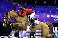 OMAHA, NEBRASKA - MAR 30: Todd Minikus rides Babalou during the FEI World Cup Jumping Final II at the CenturyLink Center on March 31, 2017 in Omaha, Nebraska. (Photo by Taylor Pence/Eclipse Sportswire/Getty Images)