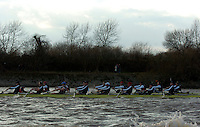 PUTNEY, LONDON, ENGLAND, 05.03.2006, Oxford [Foreground race an USA international crew, Pre 2006 Boat Race Fixtures,.   © Peter Spurrier/Intersport-images.com..OUBC, Bow Robin Esjmond-Frey, No.2 Colin Smith, No.3 Jake Wetzel, No.4 Paul Daniels, No.5 James Schroeder. No.6 Barney Williams, No. 7 Tom Parker, stroke Bastien Ripoll, and cox Nick Brodie,..USA Crew Mike Blomquist, Chris lewski, Daneil beery, Sam Burns, Joshua Inman, Brett Newlin, Patrick O'dunne, Matthew Schnobrich and cox Marcus McElhenney..[Mandatory Credit Peter Spurrier/ Intersport Images] Varsity Boat Race, Rowing Course: River Thames, Championship course, Putney to Mortlake 4.25 Miles
