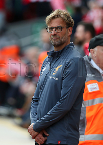 May 21st 2017, Anfield, Liverpool, Merseyside; EPL Premier league football, Liverpool versus Middlesbrough; Jurgen Klopp, Liverpool manager looks on from the technical area