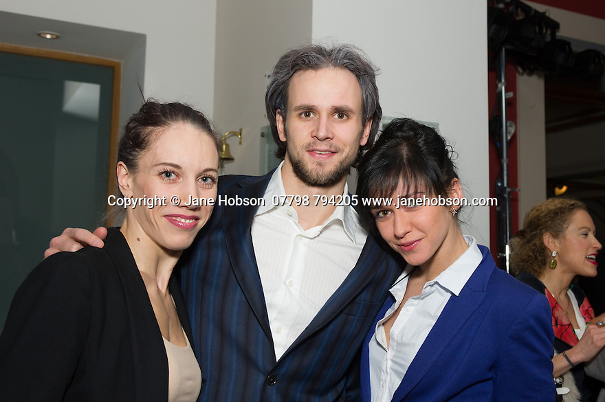 London, UK. 15.04.2014. Eifman Ballet after-party on press night for the opening of Rodin, Sky Bar, London Coliseum. Pictured: Rodin soloists (Oleg Gabyshev - middle). Photograph © Jane Hobson.