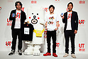 "(L to R) Yugo Nakamura, Creative Director of UTme!,  Motchy The Kakkoi-inu character, the actor Tomonori Jinnai and Rei Matsunuma , Global Marketing Projector of UNIQLO Co., Ltd. pose for the cameras during a special Uniqlo media event to promote the ""UTme!"" smart phone application on April 28, 2015. The application allows customers to upload their own designs to sell through ""UTme! Market"". Customers also can select new effects, characters and designs from Coca-Cola, Mottchy the Kakkoii-inu and fashion magazine Non-no. (Photo by Rodrigo Reyes Marin/AFLO)"