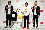 """(L to R) Yugo Nakamura, Creative Director of UTme!,  Motchy The Kakkoi-inu character, the actor Tomonori Jinnai and Rei Matsunuma , Global Marketing Projector of UNIQLO Co., Ltd. pose for the cameras during a special Uniqlo media event to promote the """"UTme!"""" smart phone application on April 28, 2015. The application allows customers to upload their own designs to sell through """"UTme! Market"""". Customers also can select new effects, characters and designs from Coca-Cola, Mottchy the Kakkoii-inu and fashion magazine Non-no. (Photo by Rodrigo Reyes Marin/AFLO)"""