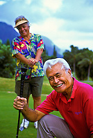 Senior Hawaiian man and part-Hawaiian woman at Pali Golf Course, Windward Oahu