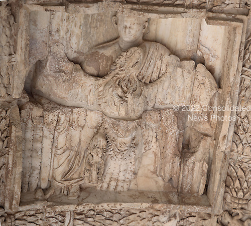 Detail of the soffit of the axial archway of the Arch of Titus, located on the Via Sacra, just to the south-east of the Roman Forum in Rome, Italy on Wednesday, October 23, 2013.  It is deeply coffered with a relief of the apotheosis of Titus at the center. It was constructed c. 82 AD by the Roman Emperor Domitian shortly after the death of his older brother Titus to commemorate Titus' victories, including the Siege of Jerusalem in 70 AD. The Arch is said to have provided the general model for many of the triumphal arches erected since the 16th century&mdash;perhaps most famously it is the inspiration for the 1806 Arc de Triomphe in Paris, France, completed in 1836.<br /> Credit: Ron Sachs / CNP