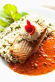 USA, Alaska, Sitka, ALASKA, Sitka, food shot of the special white King Salmon, Ludwig's Bistro