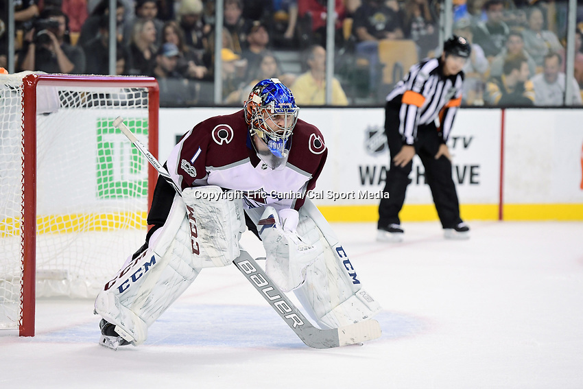 October 9, 2017: Colorado Avalanche goalie Semyon Varlamov (1) minds the net during the NHL game between the Colorado Avalanche and the Boston Bruins held at TD Garden, in Boston, Mass. Colorado defeats Boston 4-0. Eric Canha/CSM