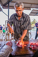 Portrait of a fisherman gutting fish at Negombo fish market (Lellama fish market) gutting fish, Negombo, West Coast of Sri Lanka, Asia. This is a photo of fisherman working at Negombo fish market (Lellama fish market) gutting fish, Negombo, West Coast of Sri Lanka, Asia