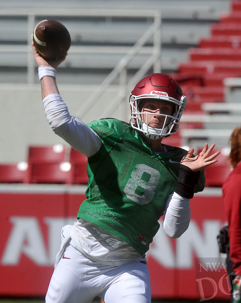 NWA Democrat-Gazette/MICHAEL WOODS &bull; @NWAMICHAELW<br /> Arkansas quarterback Austin Allen  runs  drills during practice Saturday April 2, 2016, at Razorback Stadium.