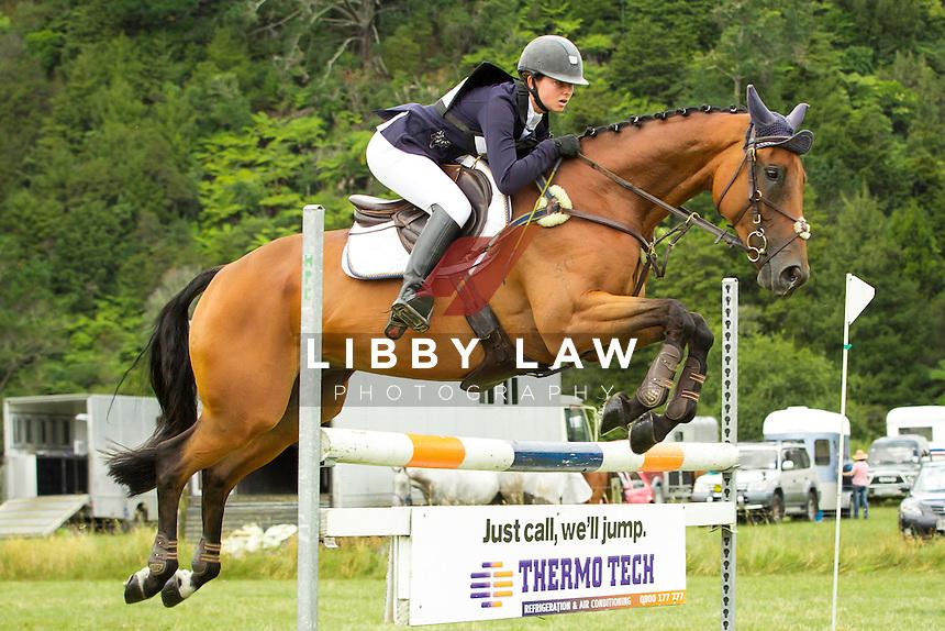 NZL-Samantha Felton (RICKER RIDGE ESCADA)  INTERIM-6TH: THOMPSON ELECTRICAL CNC2*: 2014 NZL-Troy Wheeler Contracting Springbush Horse Trial (Saturday 15 February) CREDIT: Libby Law COPYRIGHT: LIBBY LAW PHOTOGRAPHY - NZL