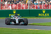 24th March 2018, Melbourne Grand Prix Circuit, Melbourne, Australia; Melbourne Formula One Grand Prix, qualifying; The number 44 Mercedes AMG Petronas driven by Lewis Hamilton on his way to claiming pole