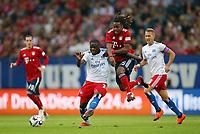 15.08.2018, Football  2018/2019, pre season friendly, Hamburger SV - FC Bayern Muenchen, Volksparkstadium Hamburg.  Orel Mangala (Hamburg)  -  and Renato Sanches (Bayern Muenchen)  *** Local Caption *** © pixathlon