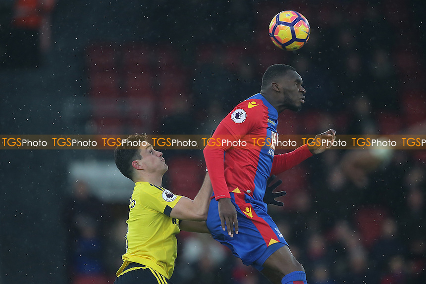 Christian Benteke of Crystal Palace gets in a header during Crystal Palace vs Middlesbrough, Premier League Football at Selhurst Park on 25th February 2017
