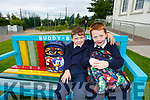 Hey Buddy: Darragh Flaherty and Ciaran Clifford on the Buddy bench making friends on their first day of school in Fybough NS Castlemaine on Tuesday