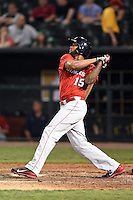 Oklahoma City RedHawks designated hitter Domingo Santana (15) hits a home run during a game against the Memphis Redbirds on May 23, 2014 at AutoZone Park in Memphis, Tennessee.  Oklahoma City defeated Memphis 12-10.  (Mike Janes/Four Seam Images)