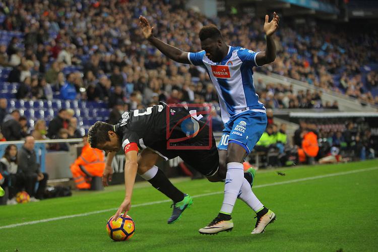 League Santander 2016/2017. Game: 13.<br /> RCD Espanyol vs CD Leganes: 3-0.<br /> Mantovani vs Felipe Caicedo.