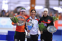 SCHAATSEN: ERFURT: Gunda Niemann Stirnemann Eishalle, 22-03-2015, ISU World Cup Final 2014/2015, Final Podium 1000m Ladies, Marrit Leenstra (NED), Brittany Bowe (USA), Qishi Li (CHN), ©foto Martin de Jong