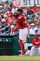 St. Louis Cardinals catcher Yadier Molina (4) during a Spring Training game against the New York Mets on April 2, 2015 at Roger Dean Stadium in Jupiter, Florida.  The game ended in a 0-0 tie.  (Mike Janes/Four Seam Images)