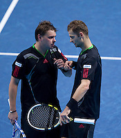 M Fyrstenberg/M Matkowski against M Bhupathi/L Paes a in the semi-finals of the Barclays ATP World Tour Finals Doubles. ..@AMN IMAGES, Frey, Advantage Media Network, Level 1, Barry House, 20-22 Worple Road, London, SW19 4DH.Tel - +44 208 947 0100.email - mfrey@advantagemedianet.com.www.amnimages.photoshelter.com.