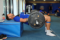 Matt Banahan in the gym. Bath Rugby pre-season training on July 21, 2015 at Farleigh House in Bath, England. Photo by: Patrick Khachfe / Onside Images
