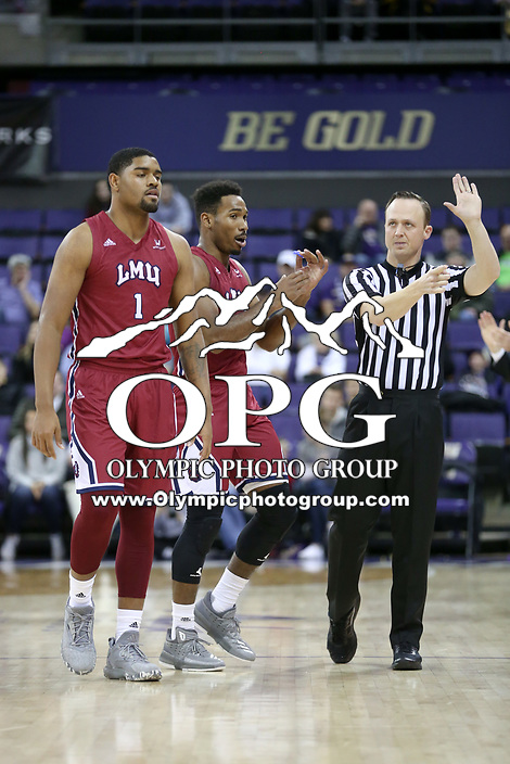 SEATTLE, WA - DECEMBER 17: Loyola Marymount's Zafir Williams against Washington.  Washington won 75-63 over Loyola Marymount at Alaska Airlines Arena in Seattle, WA.