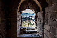 View from a window in a tower on the Great wall of China, Jinshanling Section, Beijing