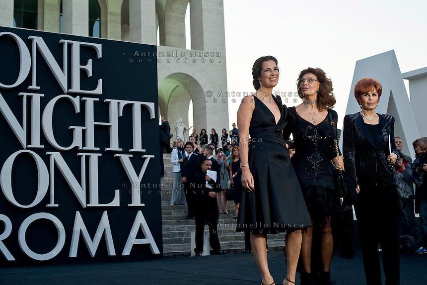 Roma, 5 Giugno, 2013. Roberta Armani,Sophia Loren and Maria Scicolone al 'One Night Only' Roma organizzato da Giorgio Armani al Palazzo della Civilta Italiana.