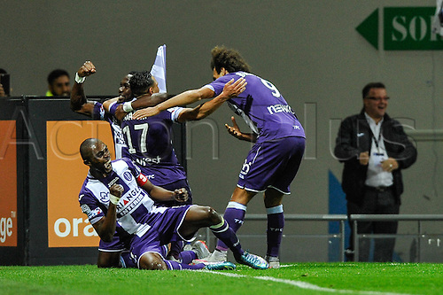 23.09.2015. Toulouse, France. French League 1 football. Toulouse versus Marseille. Goal celebrations from Martin Braithwaite (tfc)