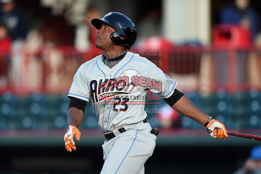 Akron RubberDucks outfielder Bryson Myles (23) at bat during a game against the Erie SeaWolves on May 17, 2014 at Jerry Uht Park in Erie, Pennsylvania.  Erie defeated Akron 2-1.  (Mike Janes/Four Seam Images)