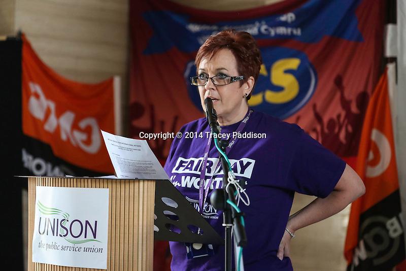 Public Sector Speaker Dawn Bowden, UNISON Cymru Wales Head of Health. Socialist, trade unionist at One Day Strike rally in Cardiff - 10th July 2014
