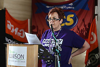 Public Sector Speaker Dawn Bowden, UNISON Cymru Wales Head of Health. Socialist, trade unionist at One Day Strike rally in Cardiff - 10th July 2014