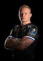 Tom Homer poses for a portrait in the 2015/16 European kit during a Bath Rugby photocall on September 8, 2015 at Farleigh House in Bath, England. Photo by: Patrick Khachfe / Onside Images