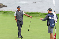 Tiger Woods (USA) after sinking his putt on 8 during round 1 of the 2019 US Open, Pebble Beach Golf Links, Monterrey, California, USA. 6/13/2019.<br /> Picture: Golffile | Ken Murray<br /> <br /> All photo usage must carry mandatory copyright credit (© Golffile | Ken Murray)