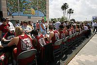 5 April 2008: Stanford Cardinal (L-R) Jayne Appel, Melanie Murphy, Ashley Cimino, Rosalyn Gold-Onwude, Jillian Harmon, Hannah Donaghe, JJ Hones, Kayla Pedersen, Jeanette Pohlen, Michelle Harrison, and head coach Tara VanDerveer during Stanford's 2008 NCAA Division I Women's Basketball Final Four open practice autograph session at the St. Pete Times Forum Arena in Tampa Bay, FL.