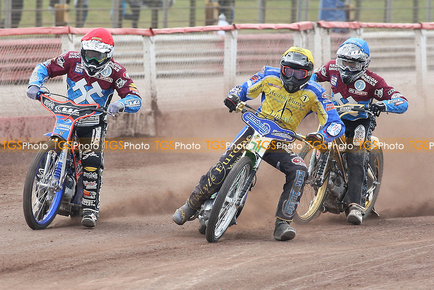 Heat 8: Davey Watt (red), Timo Lahti (yellow) and Kim Nilsson - Lakeside Hammers vs Eastbourne Eagles - Sky Sports Elite League Speedway at Arena Essex Raceway, Purfleet - 06/04/12 - MANDATORY CREDIT: Gavin Ellis/TGSPHOTO - Self billing applies where appropriate - 0845 094 6026 - contact@tgsphoto.co.uk - NO UNPAID USE.