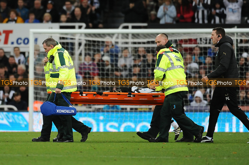 Jesus Gamez of Newcastle United receives treatment before being stretchered off during Newcastle United vs Blackburn Rovers, Sky Bet EFL Championship Football at St. James' Park on 26th November 2016