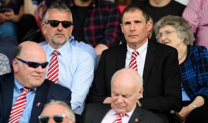Lincoln City's vice-chairman Roger Bates, left, and Lincoln City chairman Clive Nates<br /> <br /> Photographer Chris Vaughan/CameraSport<br /> <br /> The EFL Sky Bet League Two - Lincoln City v Tranmere Rovers - Monday 22nd April 2019 - Sincil Bank - Lincoln<br /> <br /> World Copyright © 2019 CameraSport. All rights reserved. 43 Linden Ave. Countesthorpe. Leicester. England. LE8 5PG - Tel: +44 (0) 116 277 4147 - admin@camerasport.com - www.camerasport.com