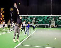 12-02-13, Tennis, Rotterdam, ABNAMROWTT, Severin Luthi, clinic Sijsling