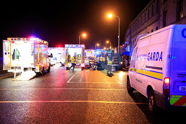 The scene of a two vehicle RTC on the Dublin road at the junction of Scotch hall car park, Nine Ambulances and two advanced paramedics and officer as well as three appliances from Drogheda Fire service, delt with the nine casualties from the two vehicles. The casualties were cut from the vehicles by the fire service using cutting equipment. All ambulance units from the North east as well as ambulances which were drafter in from the Dublin region transported the casualties to Our lady of Lourdes hospital in Drogheda.<br /> Picture Fran Caffrey www.newsfile.ie
