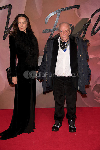 David Bailey and  wife Catherine Dyer<br /> The Fashion Awards 2016 , arrivals at the Royal Albert Hall, London, England on December 05 2016.<br /> CAP/PL<br /> ©Phil Loftus/Capital Pictures /MediaPunch ***NORTH AND SOUTH AMERICAS ONLY***