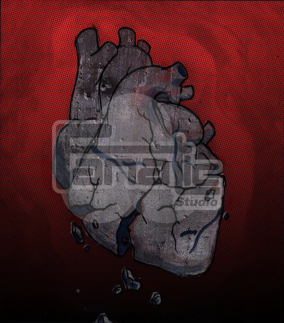 Conceptual illustration of broken human heart depicting loss of hope