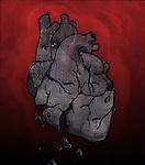 Conceptual illustration of broken human heart depicting loss of hope