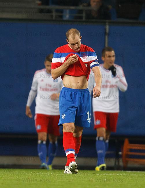 Steven Whittaker dejection as Ivo Ilicevic scores for Hamburg