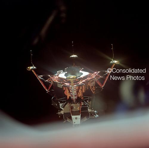 "In Lunar Orbit -- (FILE) Inspection of Lunar Module ""Eagle"" after undocking prior to landing on the Moon on Sunday, July 20, 1969..Credit: NASA via CNP"
